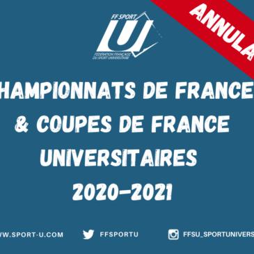 ANNULATION DE L'ENSEMBLE DES CHAMPIONNATS DE FRANCE ET COUPES DE FRANCE UNIVERSITAIRES 2020-2021.